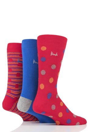 Mens 3 Pair Pringle Tommy Spots and Stripe Cotton Socks Red 7-11 Mens