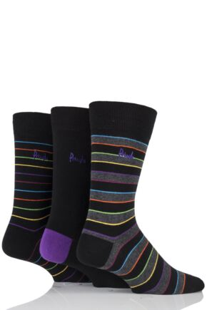 Mens 3 Pair Pringle Rosewell Double Bright Stripe Cotton Socks Black 7-11 Mens