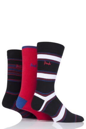 Mens 3 Pair Pringle Rosewell Stripe and Plain Cotton Socks