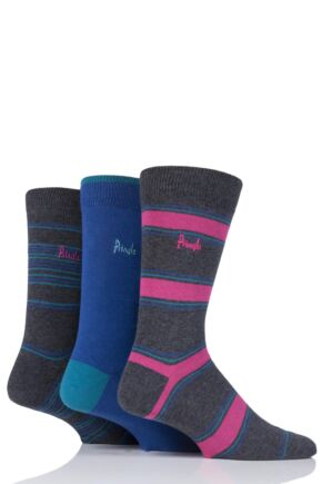 Mens 3 Pair Pringle Rosewell Stripe and Plain Cotton Socks