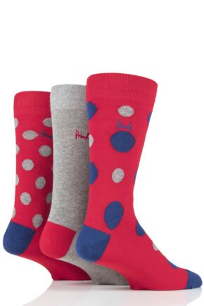 Mens 3 Pair Pringle Arthur Spots Cotton Socks