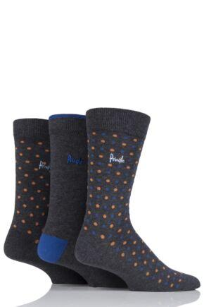 Mens 3 Pair Pringle Selkirk Dots and Plain Cotton Socks