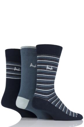 Mens 3 Pair Pringle Lockerbie Stripe and Plain Cotton Socks