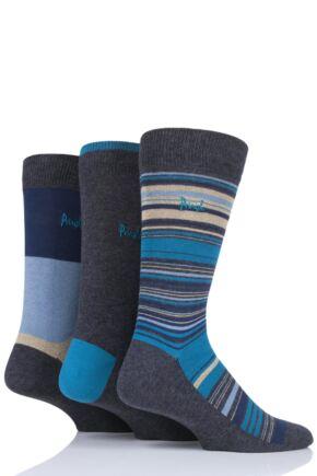 Mens 3 Pair Pringle Gretna Blocks and Stripes Cotton Socks
