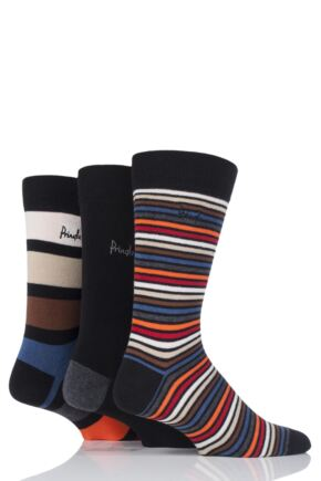 Mens 3 Pair Pringle Carluke Mixed Stripe and Plain Cotton Socks Black 6-11 Mens