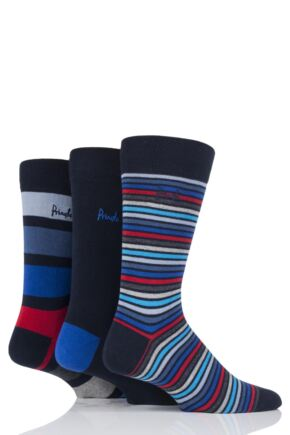 Mens 3 Pair Pringle Carluke Mixed Stripe and Plain Cotton Socks Navy 6-11 Mens