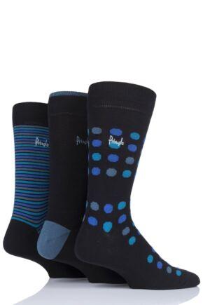Mens 3 Pair Pringle Viewpark Dots and Stripes Cotton Socks