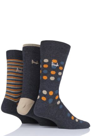 Mens 3 Pair Pringle Viewpark Dots and Stripes Cotton Socks Charcoal 7-11 Mens