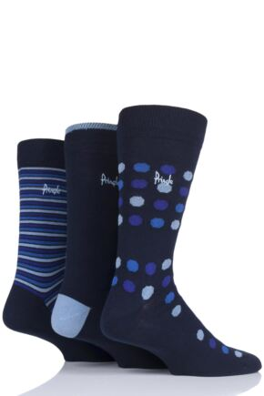 Mens 3 Pair Pringle Viewpark Dots and Stripes Cotton Socks