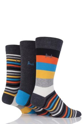 Mens 3 Pair Pringle Shetland Varied Stripe Cotton Socks Grey 6-11 Mens