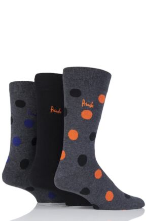 Mens 3 Pair Pringle Stanley Large Dots and Plain Cotton Socks Grey 6-11 Mens