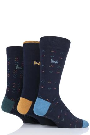 Mens 3 Pair Pringle Balmaha Contrast Cotton Socks