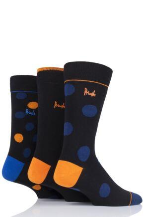 Mens 3 Pair Pringle Banchory Large Dots Cotton Socks Black 7-11 Mens