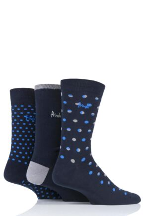 Mens 3 Pair Pringle Paisley Patterned Cotton Socks Navy 7-11 Mens