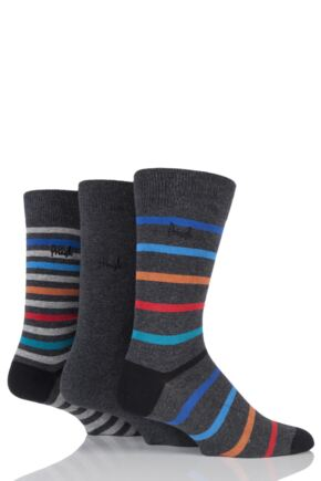 Mens 3 Pair Pringle Cumbernauld Striped and Plain Cotton Socks
