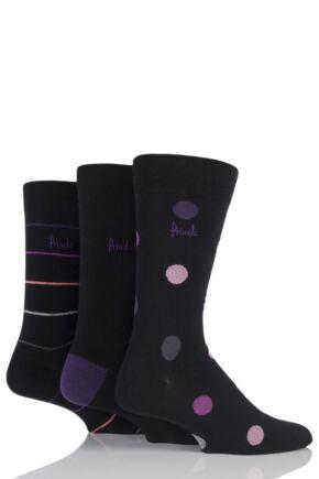 Mens 3 Pair Pringle Deeside Spotty, Striped and Plain Cotton Socks Black / Purple 7-11