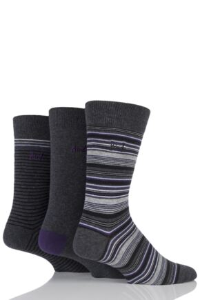 Mens 3 Pair Pringle Dunkeld Plain and Fine Striped Cotton Socks Charcoal 7-11