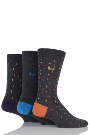 Mens 3 Pair Pringle Peniculk Lines, Dots and Plain Cotton Socks