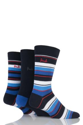 Mens 3 Pair Pringle Highland Striped and Plain Cotton Socks Navy 7-11