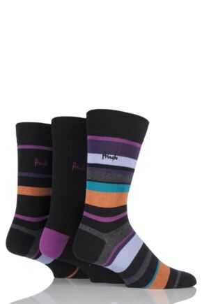 Mens 3 Pair Pringle Edinburgh Block Striped and Plain Cotton Socks Black / Purple 7-11