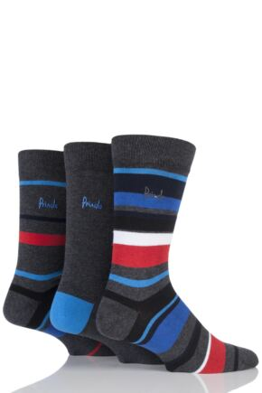 Mens 3 Pair Pringle Edinburgh Block Striped and Plain Cotton Socks Charcoal 7-11