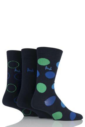 Mens 3 Pair Pringle Lanark Circles and Plain Cotton Socks