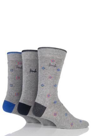 Mens 3 Pair Pringle Kilbride Diamonds, Squares and Plain Cotton Socks