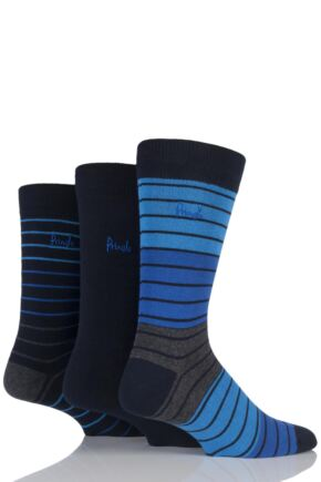 Mens 3 Pair Pringle Alloa Plain and Multi Striped Cotton Socks Navy 7-11