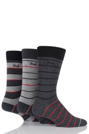 Mens 3 Pair Pringle Paisley Fine Striped Cotton Socks