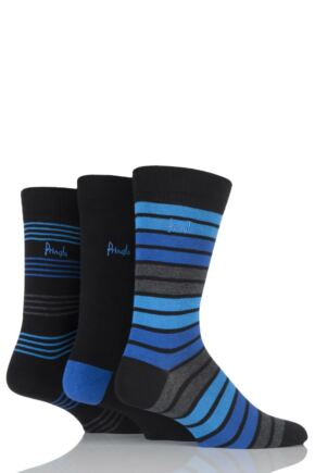 Mens 3 Pair Pringle Peterhead Plain and Mixed Striped Cotton Socks Black 7-11