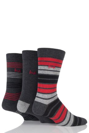 Mens 3 Pair Pringle Peterhead Plain and Mixed Striped Cotton Socks Charcoal 7-11