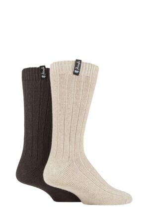Mens 2 Pair Pringle Classic Boot Socks Brown 7-11 Mens