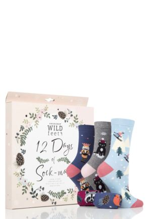Ladies 12 Pair SOCKSHOP Wild Feet 12 Days of Sock-Mas Advent Calendar Socks