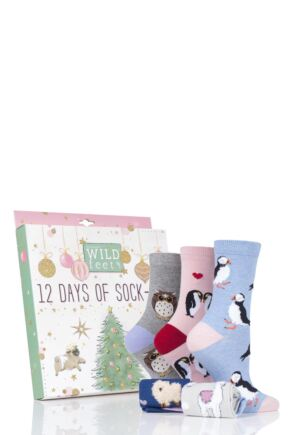 Ladies 12 Pair SockShop Wild Feet 12 Days of Sock-Mas Christmas Advent Calendar Socks