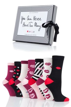 Ladies 7 Pair Lulu Guinness Gift Boxed 7 Days of Lulu Socks