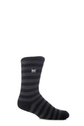 Mens 1 Pair SockShop Two Tone Striped Heat Holders Thermal Socks Black / Charcoal