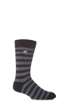Mens 1 Pair SockShop Two Tone Striped Heat Holders Thermal Socks