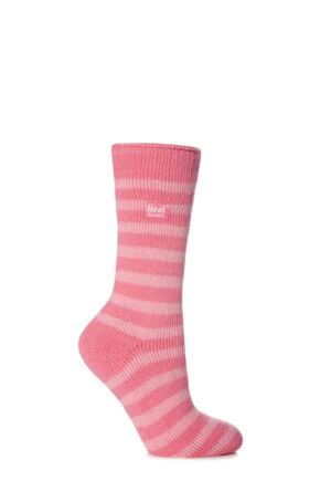 Ladies 1 Pair SockShop Two Tone Striped Heat Holders Thermal Socks Pink / Light Pink