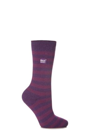 Ladies 1 Pair SockShop Two Tone Striped Heat Holders Thermal Socks Purple / Deep Fuchsia