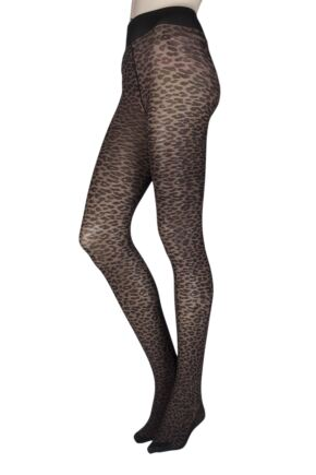 Ladies 1 Pair Trasparenze Leone Animal Print Back Bow Tights