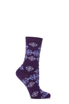 Ladies 1 Pair Levante Brocade Crew Socks Purple