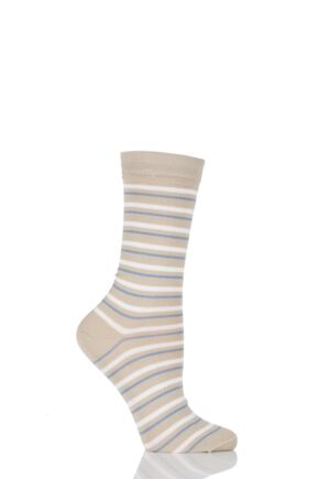 Ladies 1 Pair Levante Anjelica Striped Crew Mercerised Cotton Socks 33% OFF