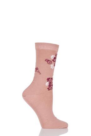 Ladies 1 Pair Levante Rosannah Floral Crew Mercerised Cotton Socks Rose OS
