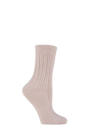 Ladies 1 Pair Levante Luxury Rosa Rib Effect Merino Cashmere Mix Socks Rosa 4-7