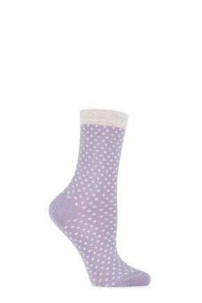Ladies 1 Pair Levante Albertina Cashmere Blend Spotty Socks Viola 4-8