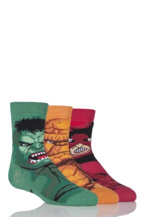 Boys 3 Pair Marvel Heroes Socks - Hulk, Juggernaut and Thing