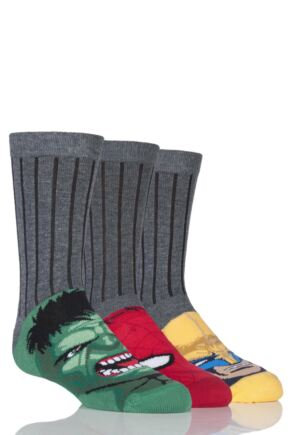 Boys 3 Pair Marvel Heroes School Socks - Hulk, Spider-Man and Wolverine 25% OFF This Style Grey 4-6.5 Kids