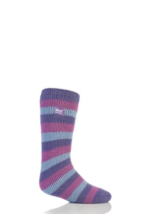 Kids 1 Pair Heat Holders Long Leg Striped Thermal Socks Lilac 12.5-3.5 Kids