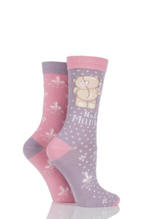 Ladies 2 Pair Forever Friends No.1 Mum Socks 25% OFF Pink