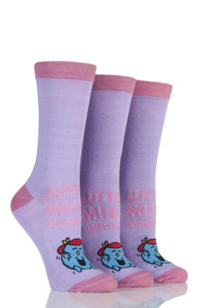 Ladies 3 Pair TM Little Miss Character Socks Little Miss Giggles